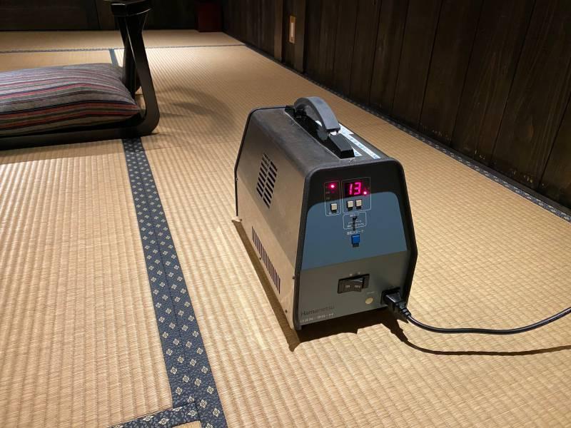 客室清掃後のオゾン消臭消毒